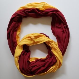 Garnet and Gold Infinity Scarf 60 Inches